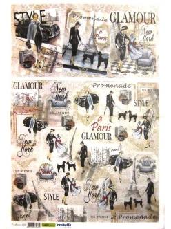 Рисовая бумага для декупажа Высокая мода, Париж, 35х50 см, Renkalik