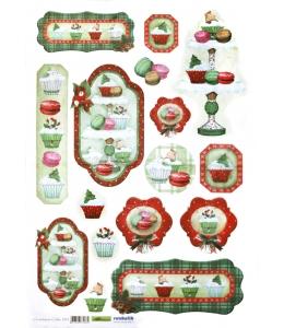 """Рисовая бумага для декупажа Renkalik 223 """"Рождественская выпечка"""", 35х50 см"""