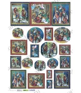 """Рисовая бумага для декупажа Renkalik 225 """"Рождество, Святое семейство"""", 35х50 см"""