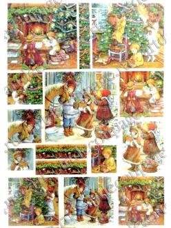 Рисовая бумага для декупажа Ожидание Рождества, 35х50 см, Renkalik 231
