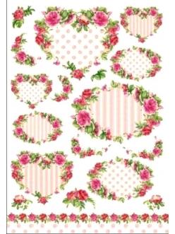 Рисовая бумага для декупажа Английские розы рамочки, Renkalik