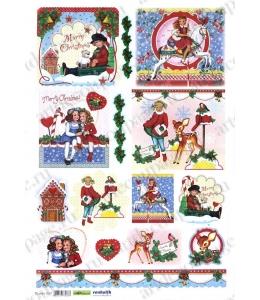 """Рисовая бумага для декупажа Renkalik 237 """"Дети в Рождество"""", 35х50 см"""
