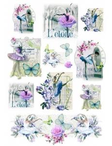 """Рисовая бумага для декупажа Renkalik 257 """"Балет, цветы и бабочки"""", 35х50 см"""