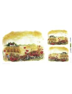 """Рисовая бумага для декупажа Renkalik T002 """"Летний пейзаж, поле с маками"""", 23х50 см"""