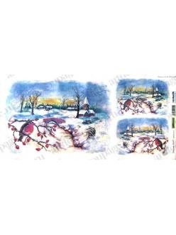 Рисовая бумага для декупажа Зимний пейзаж и снегири, Renkalik