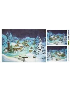 "Рисовая бумага для декупажа Renkalik T017 ""Зимний пейзаж, новогодняя ночь"", 25х50 см"