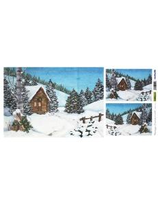 """Рисовая бумага для декупажа Renkalik T018 """"Зимний пейзаж, домик"""", 25х50 см"""