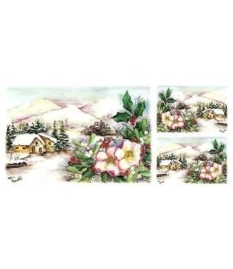 "Рисовая бумага для декупажа Renkalik T023 ""Зимний пейзаж в горах"", 25х50 см"