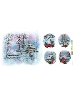Новогодняя рисовая бумага для декупажа Зимний пейзаж и олень, Renkalik