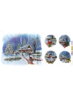 Новогодняя рисовая бумага для декупажа Снеговик и новогодняя ёлка, Renkalik