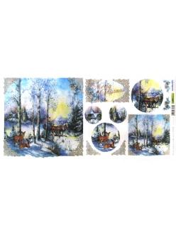 Новогодняя рисовая бумага для декупажа Зимний лес и олени