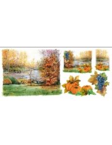 """Рисовая бумага для декупажа Renkalik T036 """"Осень, пейзаж, урожай"""", 23х50 см"""