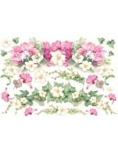 """Рисовая бумага для декупажа Stamperia DFS012 """"Плющ и яркие цветы"""", 33х48 см"""