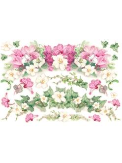 Рисовая бумага для декупажа Плющ и яркие цветы, 33х48 см