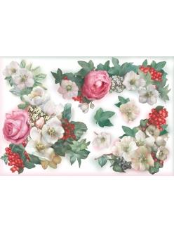Рисовая бумага для декупажа Stamperia DFS013 Розы и морозник, 33x48 см, 20г/м2