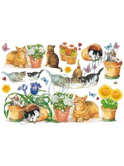 Рисовая бумага для декупажа Кошки и кашпо, 33x48 см, Stamperia DFS017