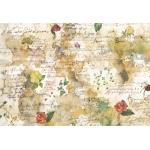 """Рисовая бумага для декупажа Stamperia DFS018 """"Цветы и стихи"""", 33x48 см, 20г/м2"""