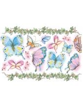 """Рисовая бумага для декупажа Stamperia DFS019 """"Разноцветные бабочки"""", 33x48 см"""