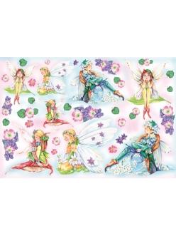 Рисовая бумага для декупажа Цветочные феи, 33x48 см, Stamperia DFS022