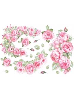 Рисовая бумага для декупажа Розы и малина, 33x48 см, Stamperia DFS040