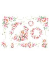 """Рисовая бумага для декупажа Stamperia DFS044 """"Фея с розовыми цветами"""", 33x48 см"""