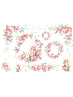 Рисовая бумага для декупажа Фея с розовыми цветами, 33x48 см, Stamperia DFS044