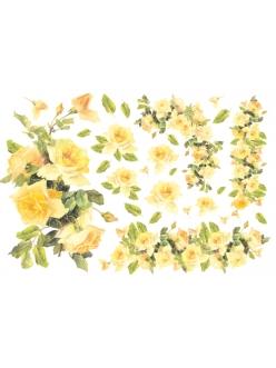 Рисовая бумага для декупажа  Желтые розы, 33x48 см, Stamperia