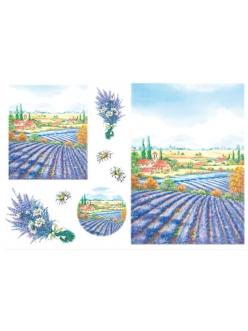 Рисовая бумага для декупажа Поле лаванды, 33x48 см, Stamperia DFS051