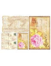 """Рисовая бумага для декупажа Stamperia DFS052 """"Открытка с цветком"""", 33x48 см"""