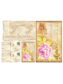 Рисовая бумага для декупажа Открытка с цветком, 33x48 см, Stamperia DFS052