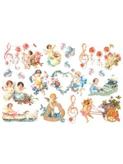 Рисовая бумага для декупажа Амуры с цветами, 33x48 см, Stamperia DFS060