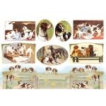 """Рисовая бумага для декупажа Stamperia DFS064 """"Собаки, винтажные картинки"""", 33x48 см"""