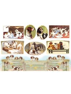 Рисовая бумага для декупажа Собаки, винтажные картинки, 33x48 см, Stamperia