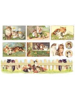 Рисовая бумага для декупажа Котята, винтажные картинки, 33x48 см, Stamperia DFS065