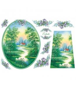"Рисовая бумага для декупажа Stamperia DFS067 ""Летний пейзаж"", 33x48 см"