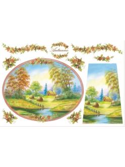 "Рисовая бумага для декупажа Stamperia DFS068 ""Летний пейзаж"", 33x48 см"