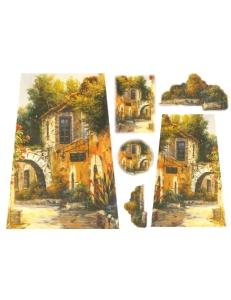 """Рисовая бумага для декупажа Stamperia DFS073 """"Пейзаж, дом в цветах"""", 33х48 см"""