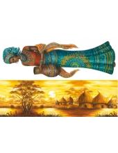 """Рисовая бумага для декупажа Stamperia DFS098 """"Африканская деревня, женщина"""", 33x48 см, 20 г/м2"""