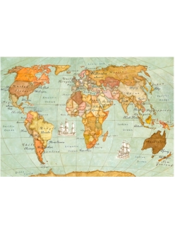 Рисовая бумага для декупажа Карта мира, 33x48 см,  Stamperia DFS100