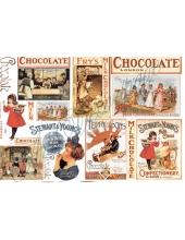 """Рисовая бумага для декупажа Stamperia DFS104 """"Шоколад этикетки"""", 33x48 см"""