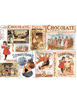 Рисовая бумага для декупажа Шоколад этикетки,  Stamperia DFS104, 33x48 см
