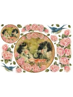 Рисовая бумага для декупажа Дети и розы, часы, Stamperia DFS105, 33x48 см
