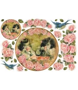 """Рисовая бумага для декупажа Stamperia DFS105 """"Дети и розы, часы"""", 33x48 см"""
