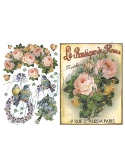 Рисовая бумага для декупажа Цветы, птички, винтаж, 33x48 см, Stamperia DFS106
