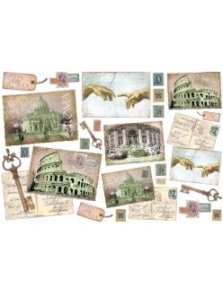 Рисовая бумага для декупажа Письма из Рима, 33x48 см, Stamperia DFS110