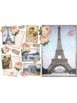 Рисовая бумага для декупажа Париж, 33x48 см, Stamperia DFS111