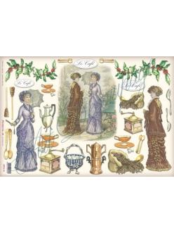 """Рисовая бумага для декупажа Stamperia DFS119 """"Викторианские дамы и кофе"""", 33x48 см"""
