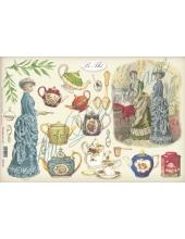 """Рисовая бумага для декупажа Stamperia DFS120 """"Викторианские дамы и чай"""", 33x48 см"""