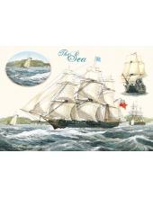 """Рисовая бумага для декупажа Stamperia DFS124 """"Море, корабль"""", 33x48 см"""