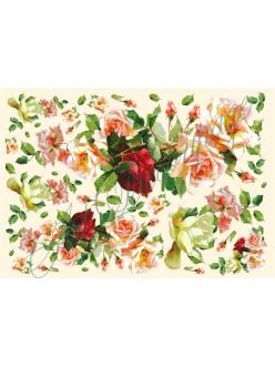 Рисовая бумага для декупажа Розы, 33x48 см, Stamperia DFS130